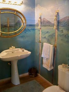 Custom artwork in Great Room bathroom