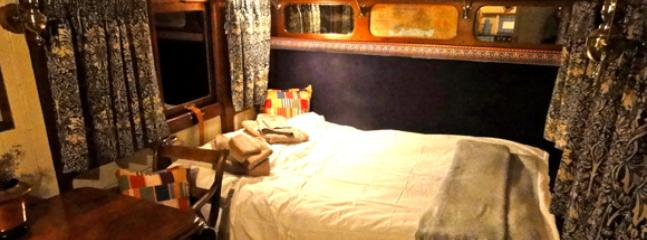 Inside the coach by night. Time for bed in a comfy double bed.