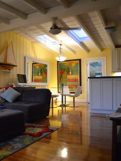 The cottage is open, bright and very stylish.