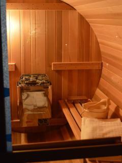 A sauna makes the cottage feel like a spa retreat.