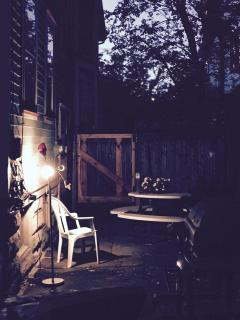 Side Yard Patio at night