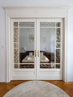 Original belle epoque lead glass door
