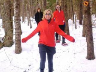 Resort trails for snow shoeing or cross country skiing; snowshoes available at resort desk.