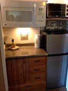 Microwave, convection toaster oven, blender, med sized refrigerator and more