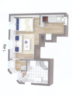 Floorplan of the studio-flat (total of 26sqm)