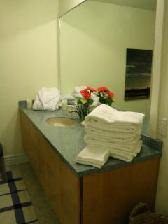 Your spacious bathroom with luxurious towels and robe to make your stay as comfortable as possible.