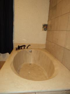 Spa bathroom garden bath tub for two, marble walls, travertine floors, refrig/freezer & microwave