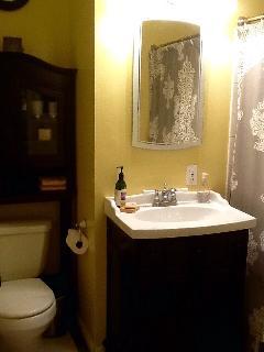 Guest Bathroom, toilet, sink, bathtub/shower