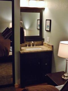 Extra vanity in bedroom