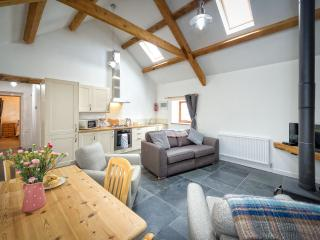 Recently renovated open plan Kitchen, Lounge and diner. Fridge/freezer, Log burner,TV, DVD, Freesat,