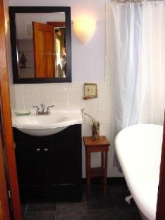 Guest bathroom, first floor. Claw foot tub