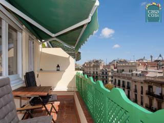 La terrasse ensoleillée et équipée avec vue sur la ville et au loin la mer et la Montjuïc.