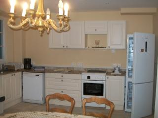 All new kitchen - granite counter, gas/electric stove, refrigerator, and dishwasher.