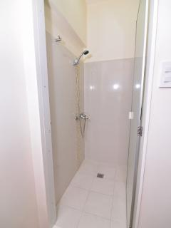 Shower area with bathroom amenities inside.