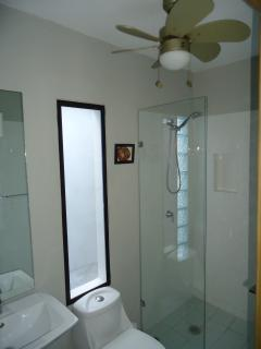 There are two tranquil and beautiful bathrooms
