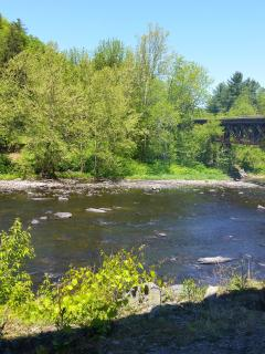 Lackawaxen river with cargo train bridge