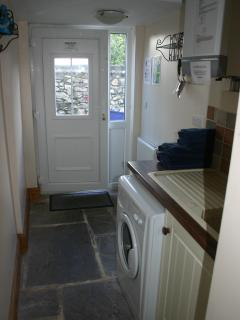 Downstairs Utility Room with Washing Machine. Leads to Secure Enclosed Courtyard