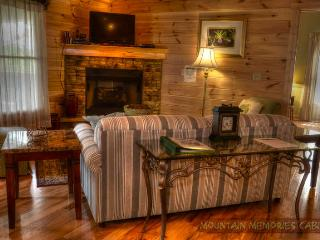 Living room furniture and stone fireplace