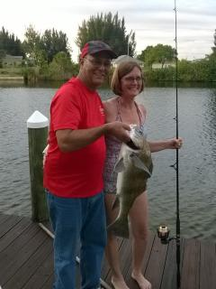 Fish right off our dock, and we provide the fishing poles!