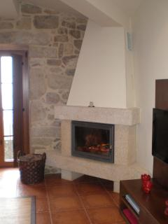 the chimney, wood is provided in the winter