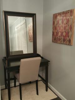 desk/makeup area in master bedroom
