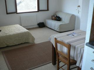 de la cuisine, vue sur la salle, le lit, le canapé-lit