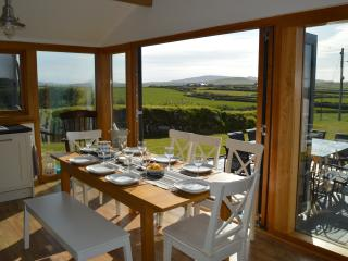 180 degree views of pastures, hills and Aberdaron bay