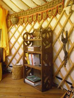 Original bookcase made onsite, now adorning the Green Man yurt.