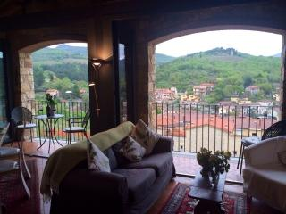 Just 5 minutes from the centre of the Gaiolie, wonderful apartment with pool and breathtaking terrace, sleeps 6, Gaiole in Chianti