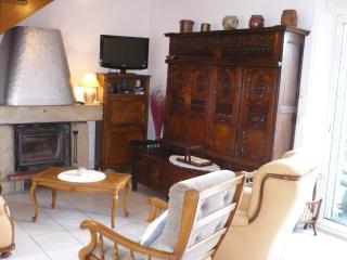 Salon: 2 fauteuils, 1 canapé 3 places, Cheminée, Téléviseur. (rez de chaussée)