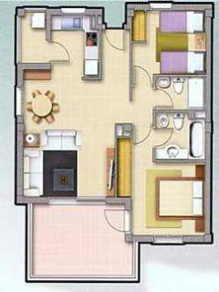 Plan of the apartment. The private roof terrace covers the same floor area.