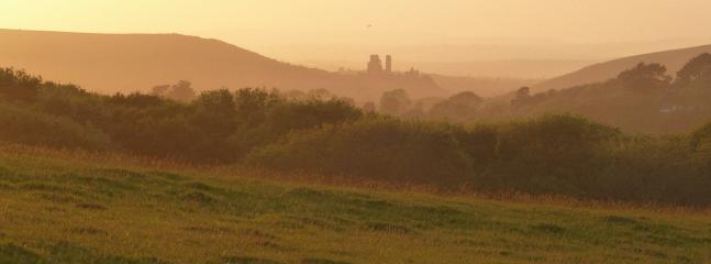 View from Old Malthouse Lane to Corfe Castle in the evening.