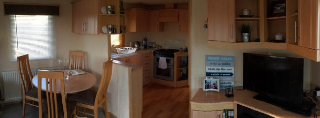 The kitchen, dining area and 32 inch TV and DVD player.