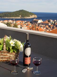 Tasting good local wine from your private terrace