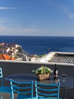 Terrace, sea, town