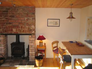 Mill Barn living room cosy wood burning stove