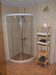One of 3 large shower rooms all with wet room type base showers.