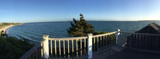 Panorama view from the deck, of Nobska lighthouse and Vineyard Sound