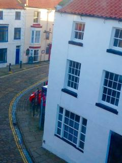 view of pub from top floor window - not too far to walk!