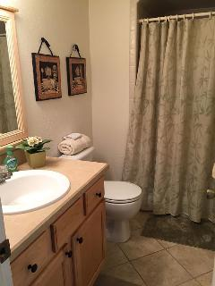 Guest bathroom with shower stall and all towels furnished for your stay! BEACH TOWELS TOO!