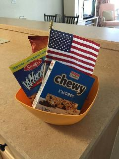Welcome Basket of snacks awaits you, with this one for our Memorial Weekend guests, 2015!
