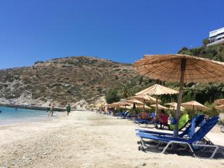 Private Beach with free sun beds, umbrelas, toilets and showers.