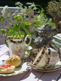 Afternoon tea in the garden.