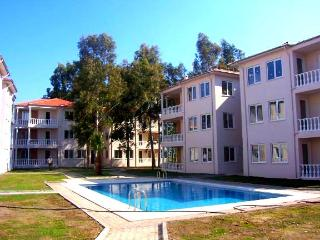 Bright, modern apartment near the Turkish Aegean Coast, with pool, air con and garden view, Dalaman