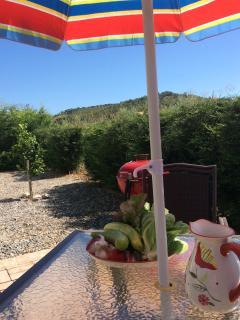 Enjoying the sunshine, peace and tranquility of Stignano Mare. Weber BBQ stored on the veranda.