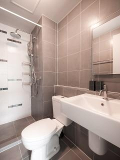 Hot shower with powerful rain shower, Shower Curtain and Toilet Douche