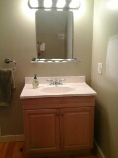 Bathroom vanity with makeup lighting