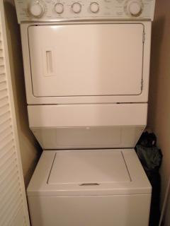 In unit stacked washer and dryer.