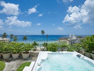 Stunning views of the free-form swimming pool, lush tropical gardens and Caribbean Sea beyond, Speightstown