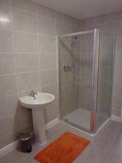 spacious modern tiled bathroom with large shower